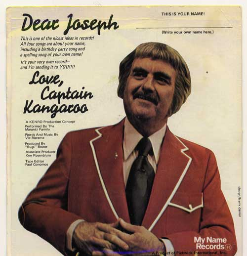 "Captain Kangaroo Name Record ""Joseph"" Back Cover"