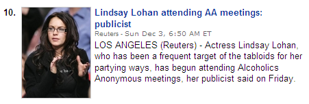Linday Lohan attending AA Meetings