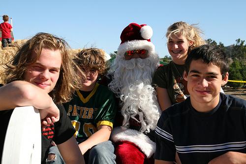 Kids and Santa Claus at the Tree Farm