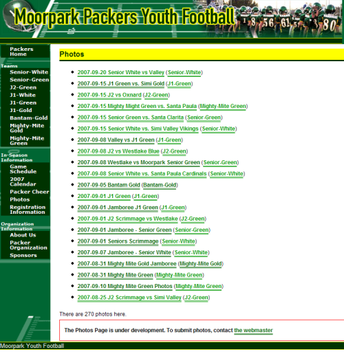 Moorpark Packers Photos Page 22 September 2007