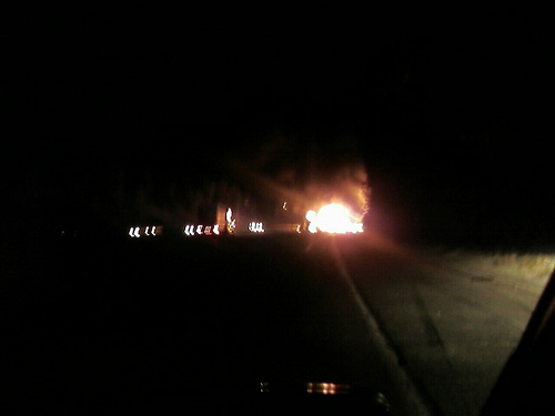 Big truck on fire on 118 West