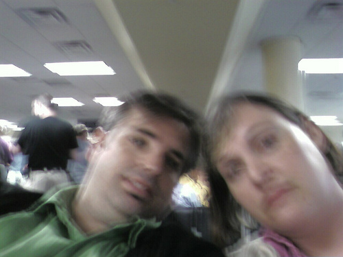 At Dulles waiting to board.