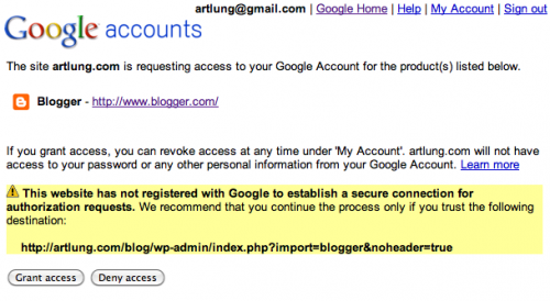 Authorize Blogger with Google