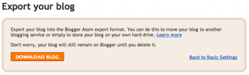 Blogger: Export Your Blog