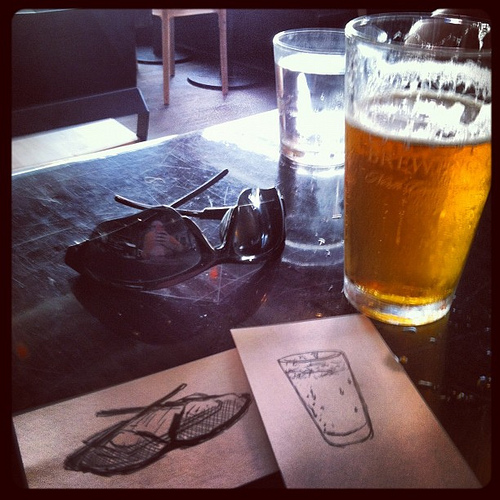 Beer and sunglasses + drawing of beer and sunglasses