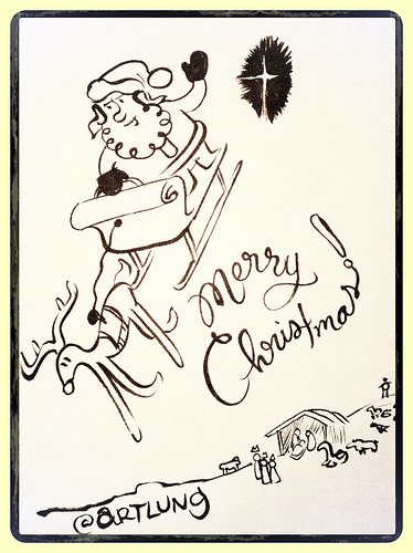 Merry Christmas! A Doodle By @ARTLUNG. Peace on Earth, Goodwill toward men!
