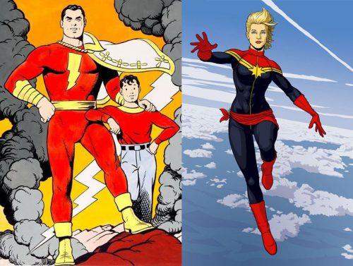 Captain Marvel by CC Beck & Captain Marvel by Jamie McKelvie