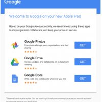 Google ~ Welcome to Google on your new Apple iPad ~ Based on your Google Account activity, we recommend using these apps to stay organized, collaborate, and keep your account secure.