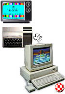 DON'T RUSH! A nice little picture of a TI-99 4/A and an Amiga 1000 are coming your way - there are even icons to see!
